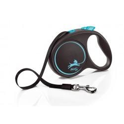 FLEXI Black Design L 5 m modrá samonavíjacia vôdzka pre psy do 50 kg s páskou