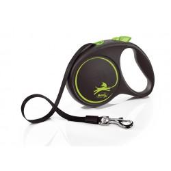 FLEXI Black Design L 5 m zelená samonavíjacia vôdzka pre psy do 50 kg s páskou