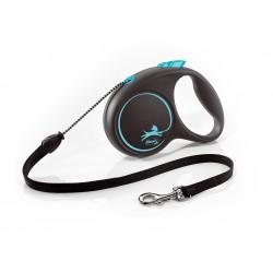 FLEXI Black Design M 5 m modrá samonavíjacia vôdzka pre psy do 20 kg s lankom