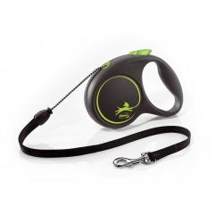 FLEXI Black Design M 5 m zelená samonavíjacia vôdzka pre psy do 20 kg s lankom