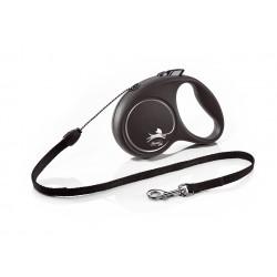 FLEXI Black Design S 5 m čierna samonavíjacia vôdzka pre psy do 12 kg s lankom