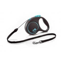 FLEXI Black Design S 5 m modrá samonavíjacia vôdzka pre psy do 12 kg s lankom