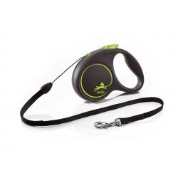 FLEXI Black Design S 5 m zelená samonavíjacia vôdzka pre psy do 12 kg s lankom