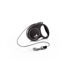 FLEXI Black Design XS 3 m čierna samonavíjacia vôdzka pre psy do 8 kg s lankom